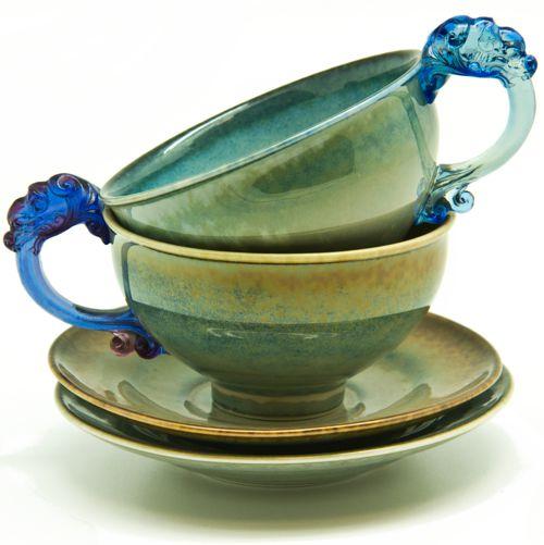 Чайные пары с ручками-драконами (2 пары). Мастер Lee