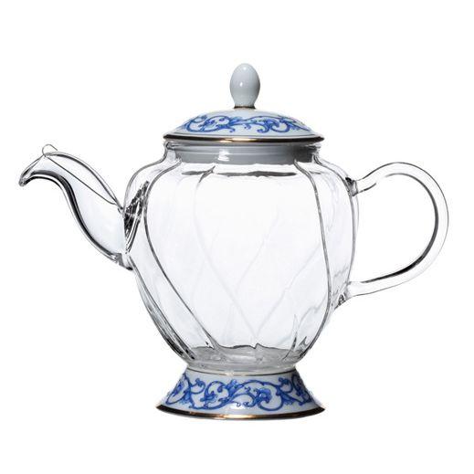 Малый фьюжн чайник с синим орнаментом