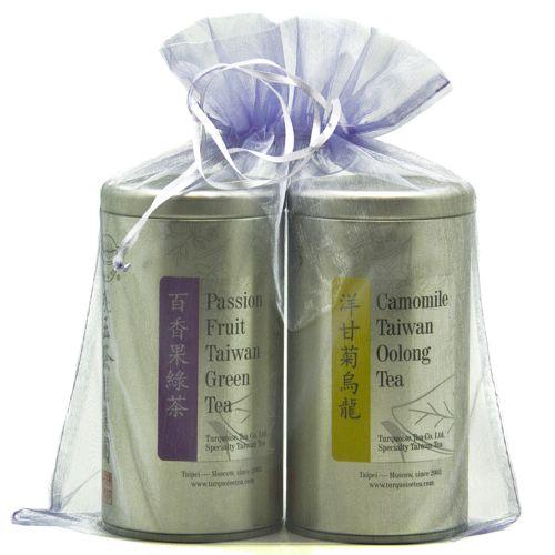 Подарочный набор из двух чаёв в строгом фиолетовом мешочке