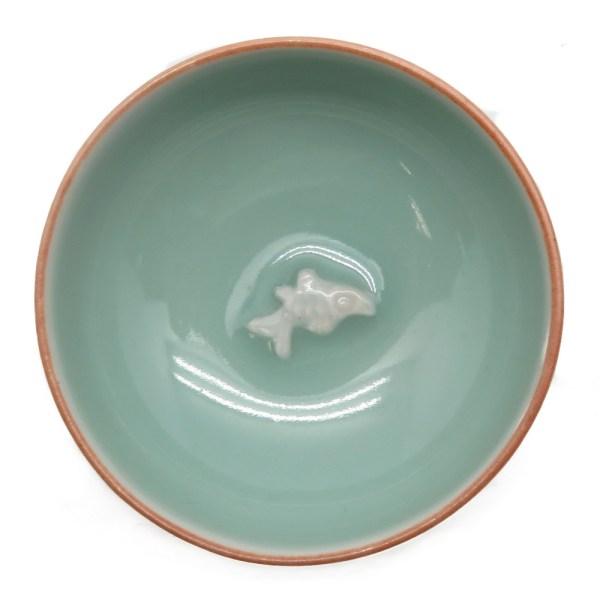 Пиалы селадоновые с рыбкой на дне (4 штуки)