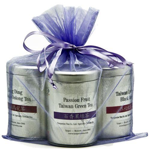 Подарочный набор из трех чаёв в элегантном фиолетовом мешочке