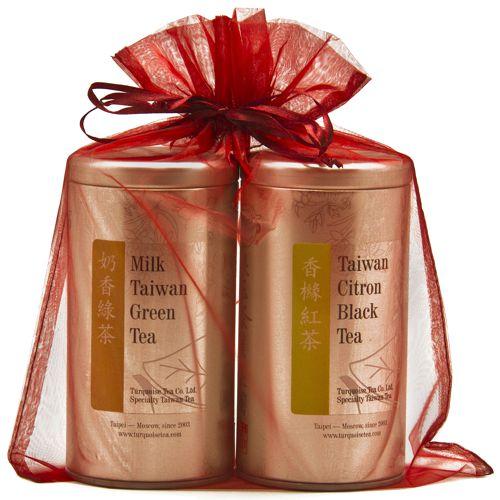 Подарочный набор из двух чаёв в ярком красном мешочке