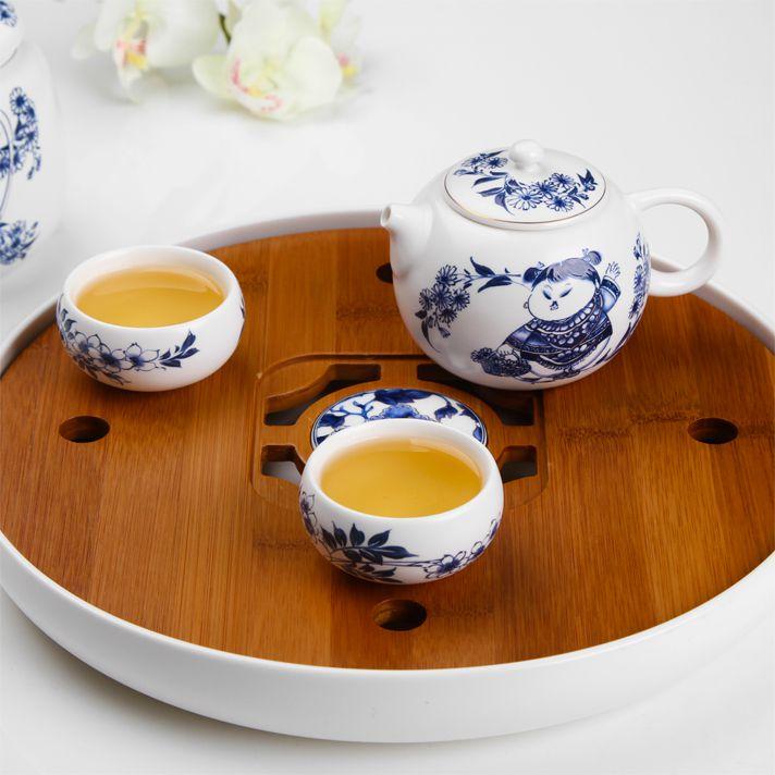 Чайная доска из бамбука и фарфора с селадоновой глазурью
