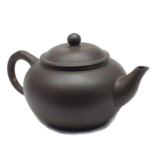 Глиняный клеймёный чайник (200 мл, темный)