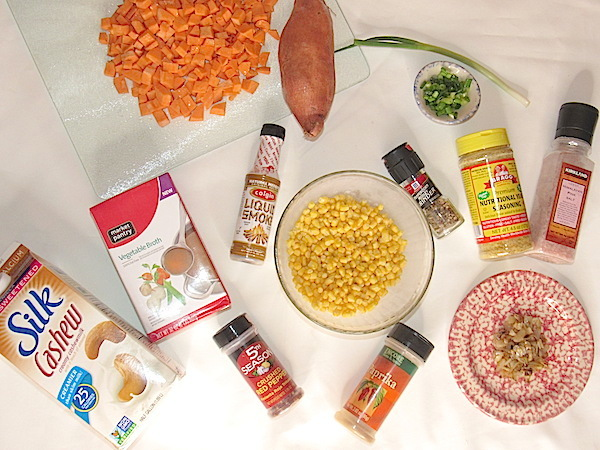 Vegan corn chowder ingredients 2