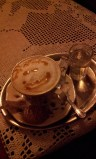 The cappuccino I gave a smile with the honey :-)