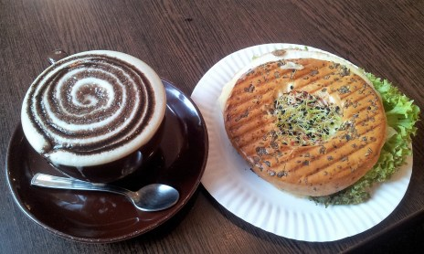 Black Forest Cappuccino and a Bagel