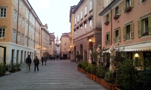 The piazza in front of the Adoro where you sit in the patio