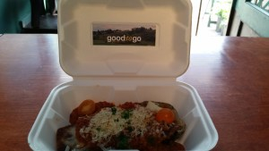 Local Eggplant Parmesan: breaded with Heidelberg bread crumbs, topped w/ Galbani mozzarella, Parm, and house marinara