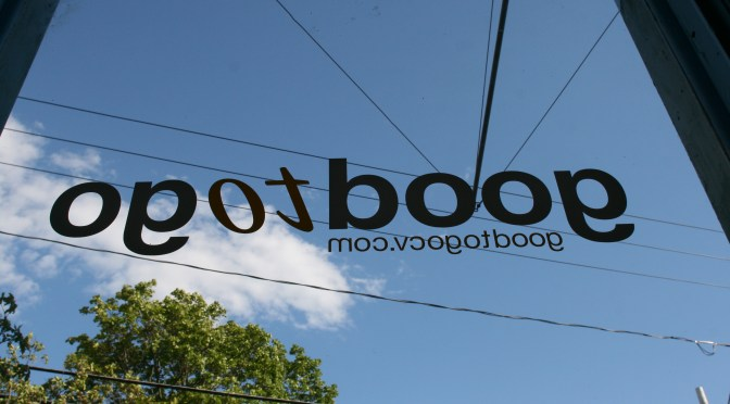 The Good to Go window sign as seen from inside Good to Go in Cherry Valley, New York., between Cooperstown and Sharon Springs