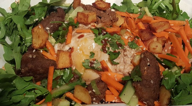 Macanese Minchi: mixed beef chorizo, ground grass-fed goat, fried potato, topped with a braised Hidden Camp Farm egg and a cucumber/cilantro/carrot salad. Medium spicy (can be made spicier).
