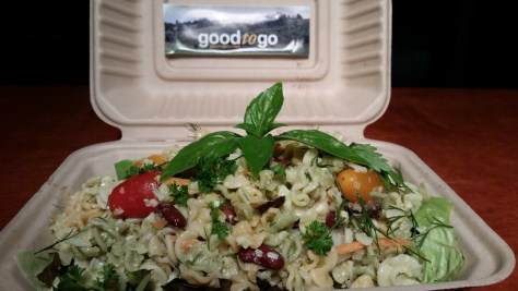 Back on the Good to Go takeout menu: Organic veggie pasta w/ local and organic veggies, Parmesan & Pecorino Romano, and a creamy, organic apple-cider vinaigrette.
