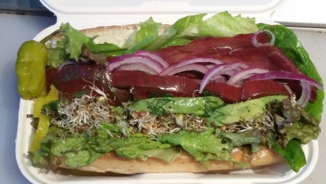 The BLASTO is a (turkey) bacon, lettuce,* avocado, sprouts,* tomato (heirloom), and onion sandwich with house olive oil mayo,* served on a Heidelberg baguette. Can also be a CLASTO which is made with Nectar Hills Farm grass-fed beef* chorizo.