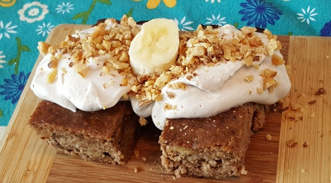 Gluten-free Banana* Walnut* Cake: made with oats* from a gluten-free facility, comes with Banana* Whipped Cream