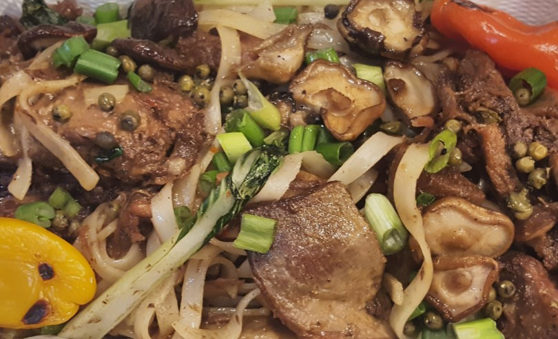 Shiitake Short Ribs: Nectar Hills Farm grass-fed beef* short-ribs, sake & soy-braised, with shiitake mushrooms and Asian greens, on rice noodles
