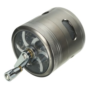 4 Layers Zinc Alloy Grinder with Hand Crank Mill Crusher