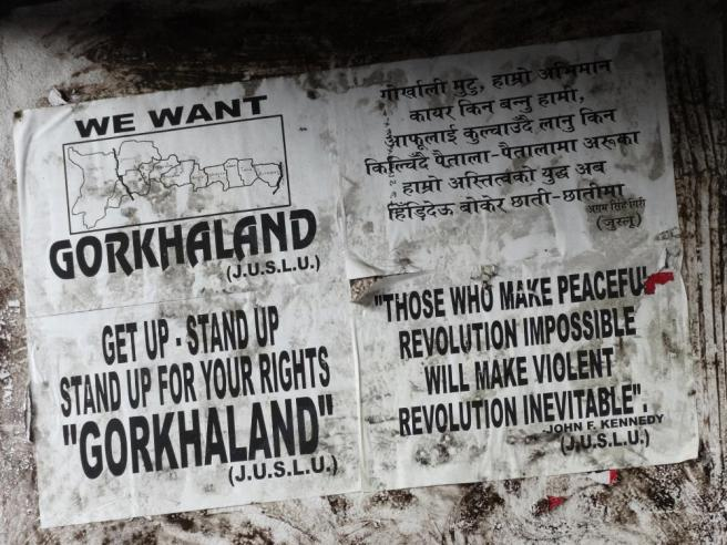 Would Gorkhaland tourism benefit from independence? Pro-Gorkhaland independence posters, Darjeeling, West Bengal, India. By Adam Jones via Flickr (CC BY-SA 2.0)