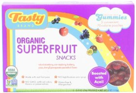Tasty Brand Organic Fruit Snacks, Superfruit Fruit Flavors, 5 Count package