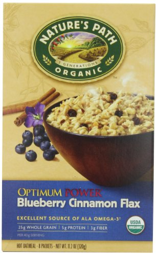 Nature's Path Organic Instant Hot Oatmeal, Optimum Power, Cinnamon Blueberry Flaxseed, 8-Count 11.20-Ounce Box (Pack of 6)