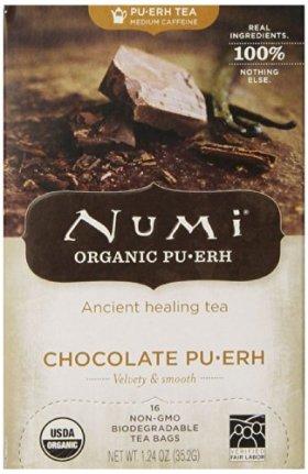 Numi Organic Tea Chocolate Puerh, Full Leaf Black Tea, 1.24 oz.,16 Count Tea Bags
