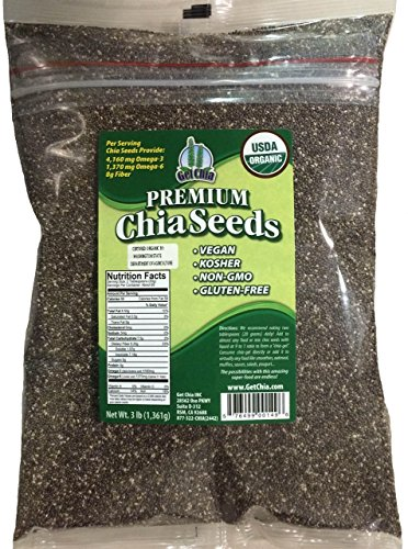 Marquis-Nutra Foods / Get Chia Brand Certified Organic Chia Seeds – 3 TOTAL POUNDS = ONE x 3 Pound Bag