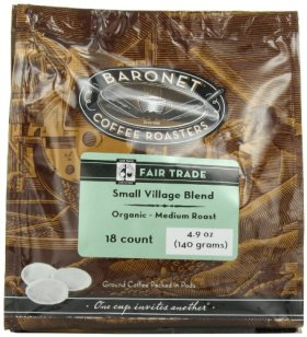 Baronet Coffee Fair Trade Organic Small Village Blend (140 g), 18 Count Coffee Pod