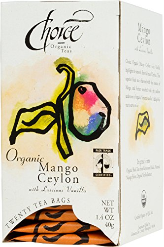 Choice Organic Mango Ceylon Tea with Vanilla, 20 Count Box