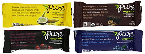 Pure Bar Organic Variety Pack, Raw Fruit & Nut Bars, 1.7-Ounce Bars (Pack of 12)