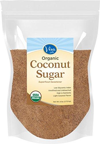 Viva Labs Organic Coconut Sugar: Non-GMO, Low-Glycemic Sweetener, 6 lbs Bag