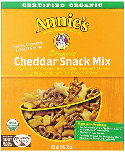 Annie's Homegrown Cheddar Organic Snack Mix, Bunnies Cheddar, 9-Ounce Boxes (Pack of 4)