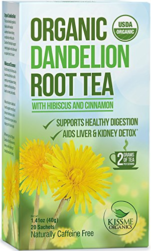 Kiss Me Organics – Organic Dandelion Root Tea – 100 Tea Bag Value Pack – USDA Organic – Supports Healthy Digestion – Aids in Liver & Kidney Detoxification – TWO HEAPING GRAMS PER TEA BAG- 20-Count Boxes (Pack of 5)