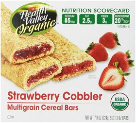 Health Valley Cereal Bars, Strawberry Cobbler, 6 Count
