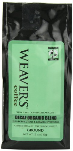 Weaver's Coffee, Decaf Organic Blend Ground Coffee, Full-bodied Malt & Caramel Overtones, 12 Ounce Bag
