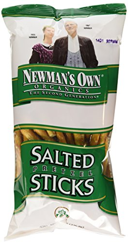Newman's Own Organics Pretzels, Salted Sticks, 8-Ounce Bags (Pack of 12)