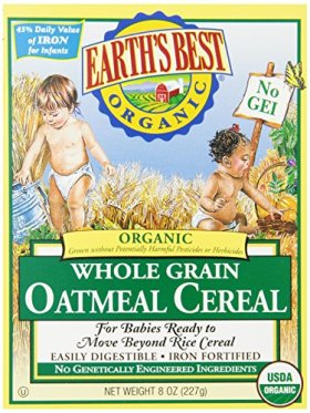 Earth's Best Organic Whole Grain Oatmeal Cereal, 8 Ounce (Pack of 12)