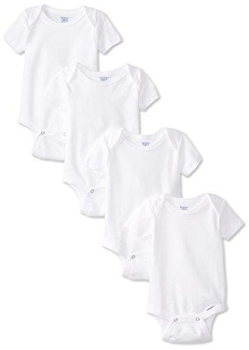 Gerber Unisex-Baby Newborn 4 Pack Organic Onesies Brand, White, 3-6 Months