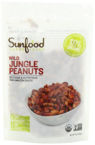 Sunfood Wild Amazonian Jungle Peanuts Organic, Raw, 8 Ounce Bag