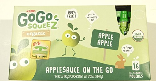 GoGo Squeez Materne Organic Applesauce On the Go Pouch, Apple Apple, 3.2 oz (Pack of 16)