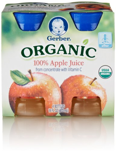 Gerber Organic Apple Juice, 4-Count, 4-Ounce Bottles