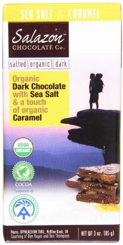 Salazon Organic Dark Chocolate with Sea Salt & Caramel, 3 Ounce Bars (Pack of 12)