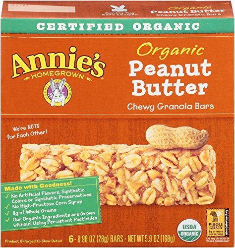 Annie's Organic Peanutty Granola Bars,  6 – .98-Ounce Bars, 5.9 Oz Boxes (Pack of 4)