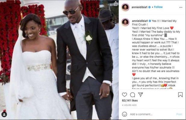 Annie Idibia Praises 2Baba As They Celebrate Their 8th Years Wedding Anniversary
