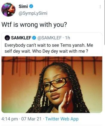 simi responds to samklef tweet about tems