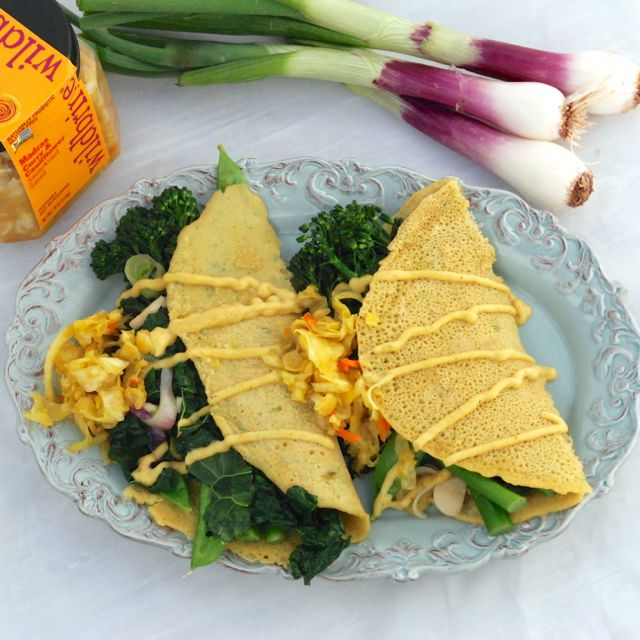 Chickpea Crepes and Curry Vegetables