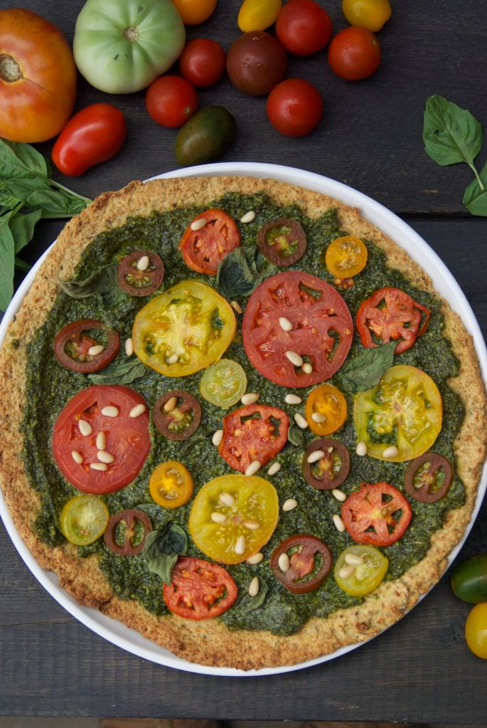 Gluten Free Vegan Pesto Pizza