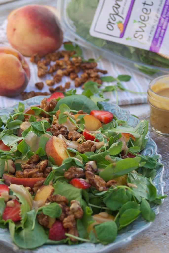 Sweet Pea Shoots and Peaches Salad