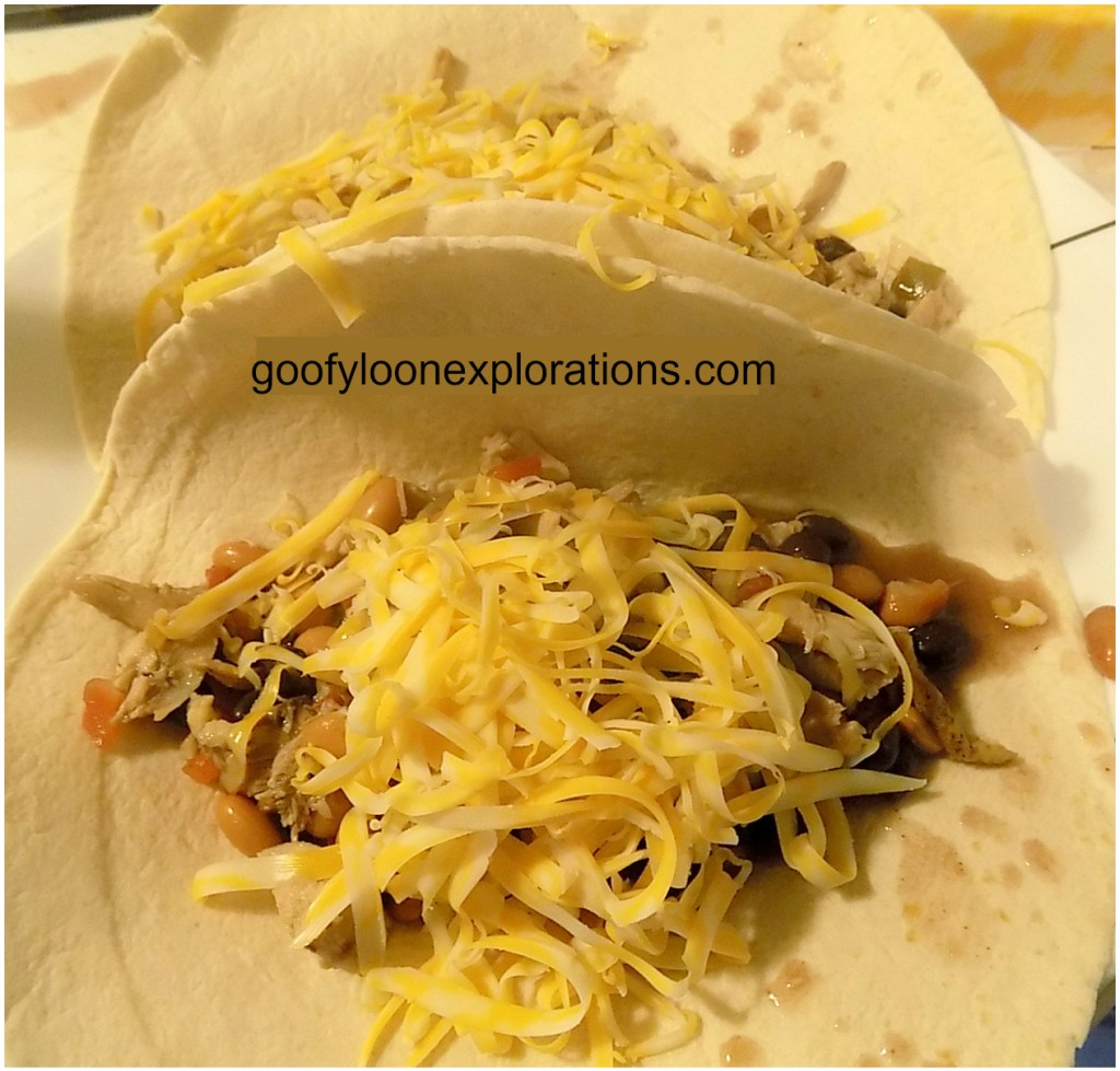 Quick and Easy Chicken Burritos - Burrito Filling and Cheese