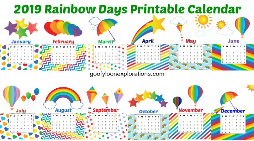 photograph regarding Fun Printable Calendar identify Enjoy Rainbows? Yourself Will need This Free of charge Printable 2019 Calendar