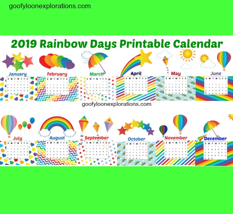 Free Printable 2019 Calendar: Rainbow Days!