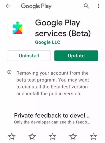 Updating Google Play Service from play store